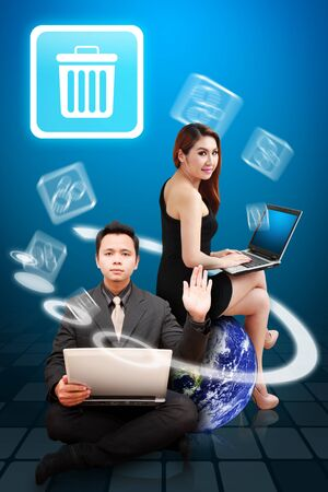 Business man and woman present the Bin icon photo
