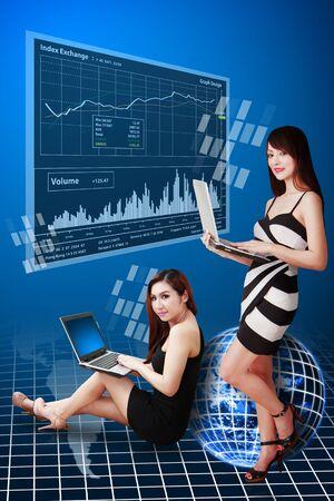 Secretaries and stock graph report photo