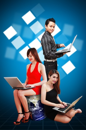 A group of business people and windows icon background photo