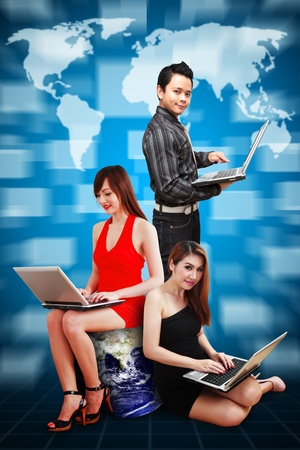 A group of business people and world map background Stock Photo - 12994611
