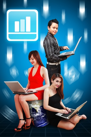 A group of business people and Graph icon Stock Photo - 12994600