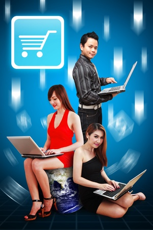 A group of business people and Cart icon Stock Photo - 12994603