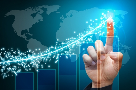 financial growth: Hand point to lighting report graph  Stock Photo