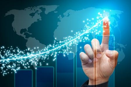 bolsa de valores: Mano puntos para graficar informe de la iluminación