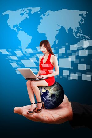 Smart hand hold Lady on globe and world map background  photo