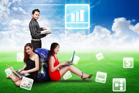 wold map: Business Team present Bar graph icon on the sky and grass field