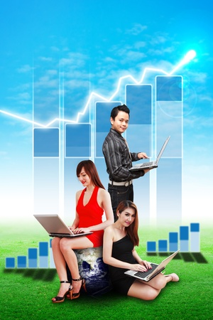 Business team and Bar graph report on the sky photo
