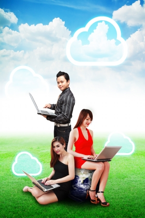 A business group and cloud computing on blue sky and grass field photo