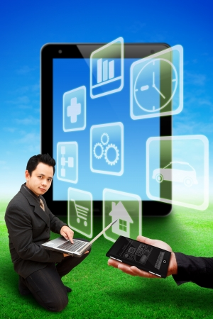Business man and world app background photo