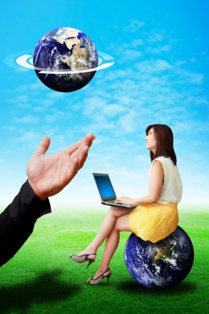 Great Hand give the earth to lady on globe photo