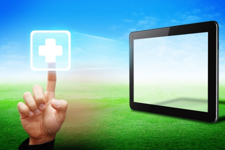 Smart hand touch First Aid icon from touchpad Stock Photo - 13631750