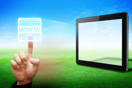 Hand touch on World Wide web icon from tablet computer  Stock Photo - 13631754