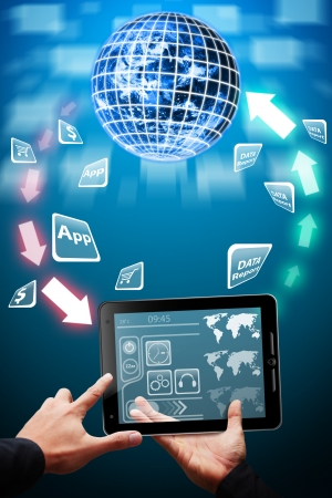Data transfer from tablet computer to the App world Stock Photo - 13631670