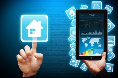 Une presse � main Smart maison ic�ne de t�l�phone mobile Banque d'images