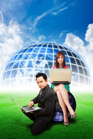 Business team on grass field Stock Photo - 13645080