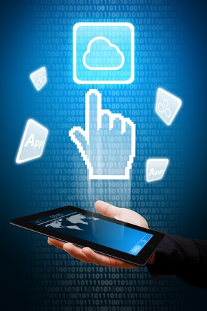 Smart hand touch on Cloud computing icon from tablet computer  photo