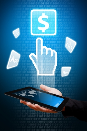 Digital hand from touch pad point to Money icon