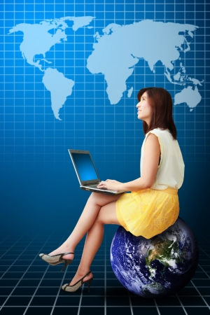 Business woman and world graph report photo