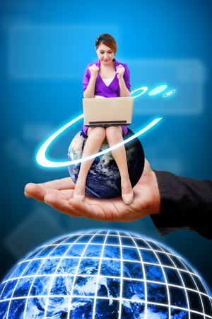 Woman on globe and smile on Business man s hand photo
