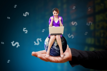 Woman on globe and stock exchange board background photo