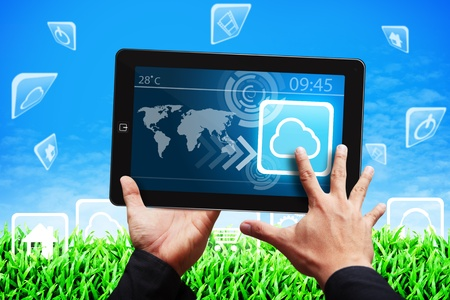 Smart hand touch on Cloud computing icon on tablet computer Stock Photo - 14010066