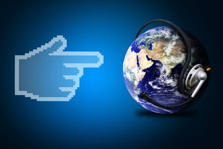 hi speed: Digital world and digital hand Stock Photo