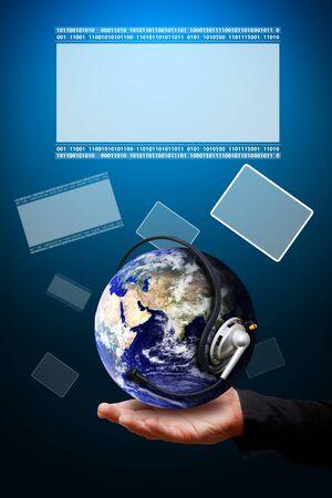 hi speed: Smart hand hold digital world Stock Photo