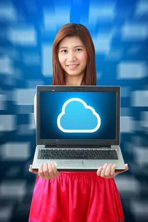 Smile lady and Cloud icon on notebook computer photo