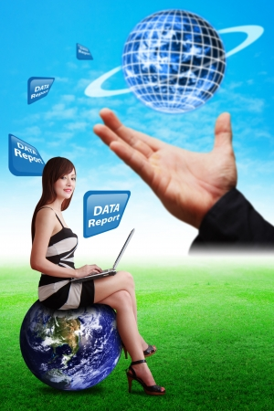 Lady ion globe and smart hand hold the digital world photo