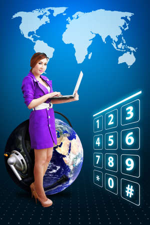 Smile lady and digital world with dial number photo