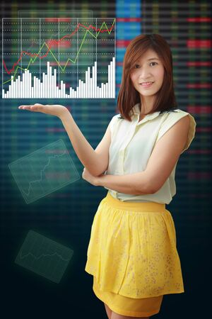 Smile lady hold Graph report