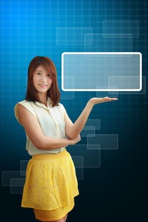 Smile lady hold the digital window photo