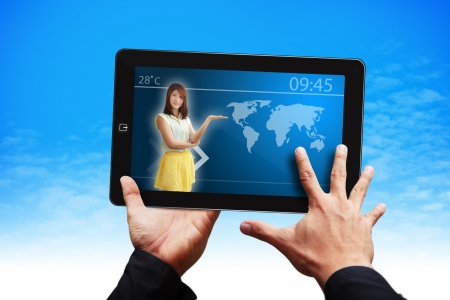 wold: Smart hand and smile lady on touch pad