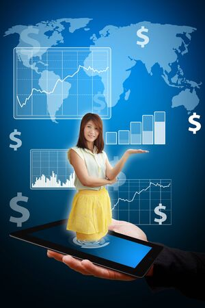 Smile lady on touch pad and present graph report Stock Photo - 14008979