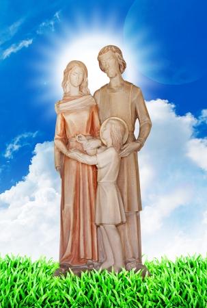 Jesus Mary and Joseph on the heaven