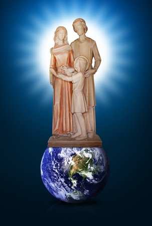 Jesus Mary and Joseph on the world photo
