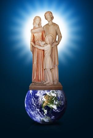 Jesus Mary and Joseph on the world photo