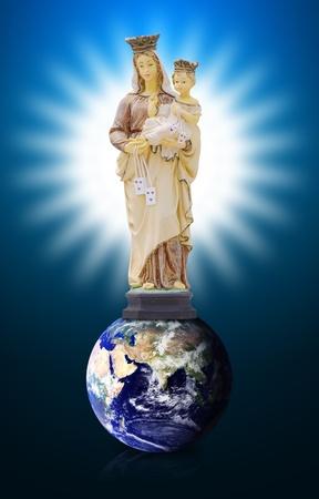 Mary and Joseph on the world photo