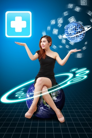 Lady on Globe hold the First Aid icon from app world Stock Photo - 14009180