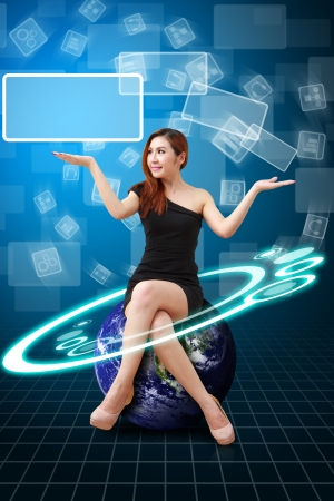 Lady on globe and digital background photo