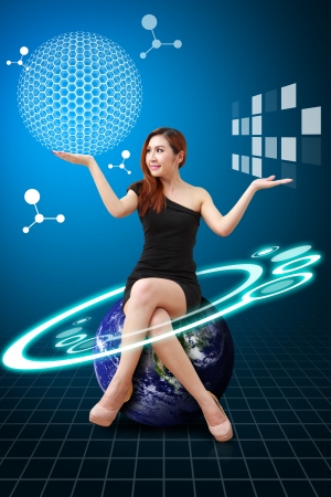 computer scientist: Lady on globe and Carbon nano ball present Stock Photo