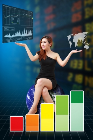 Business woman and graph report  photo