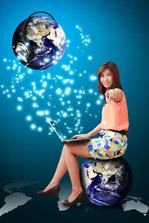 online shoppping: Lady on globe and communication world