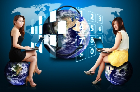 Two lady on communication world photo