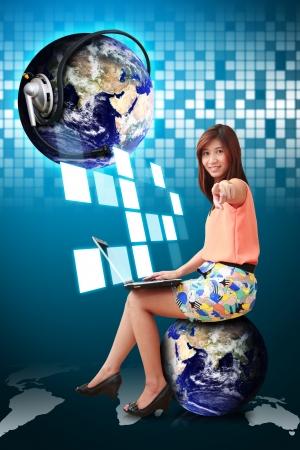 communication world and woman on globe photo