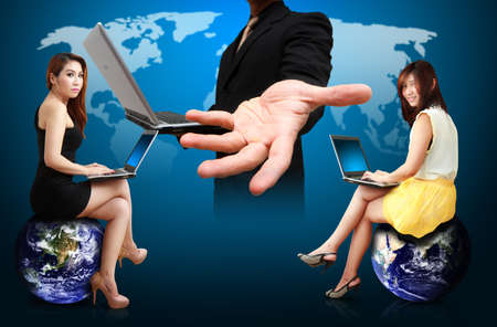 wold map: Business man and woman present the world map background Stock Photo