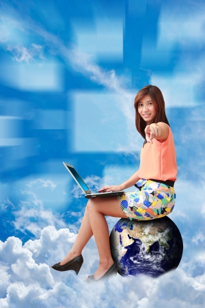 Lady on globe and communications world photo