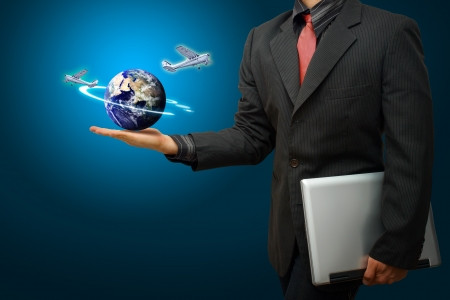 wold map: A business man and airplane  Stock Photo