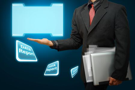 hi speed: Business man and data report concept Stock Photo