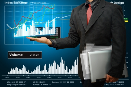 wold: Business woman and graph report